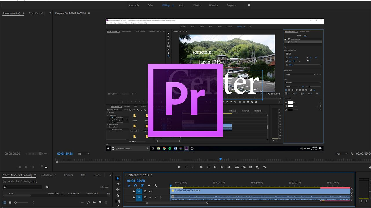 How to Center Text with the Text Tool in Adobe Premiere Pro CC (2017